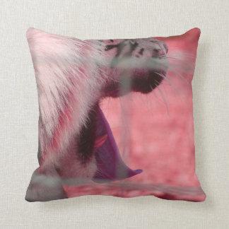 white tiger yawn pink side animal image pillow