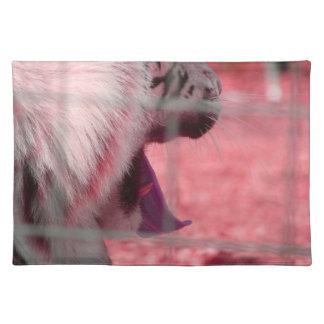 white tiger yawn pink side animal image placemat