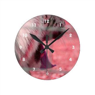 white tiger yawn pink side animal image round clock