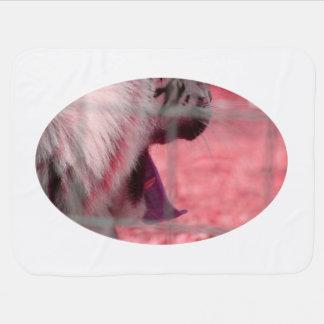 white tiger yawn pink side animal image stroller blanket
