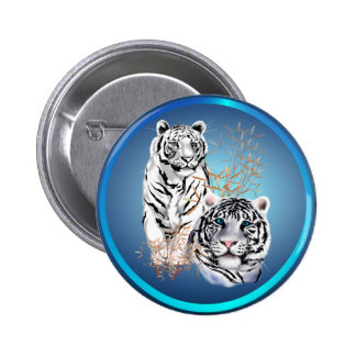 White Tigers -Buttons Pinback Button