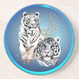 White Tigers -Coasters Sandstone Coaster