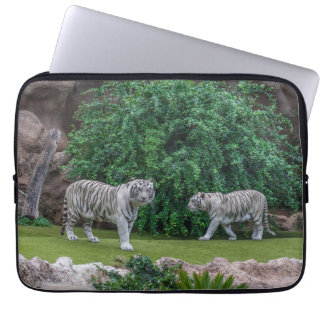 White tigers laptop sleeve