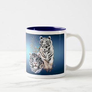 White Tigers _Mugs Two-Tone Coffee Mug