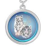 White Tigers -Necklace Round Pendant Necklace