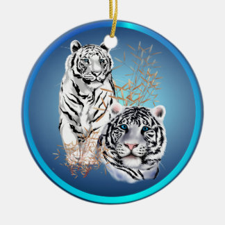 White Tigers -Ornaments Ceramic Ornament