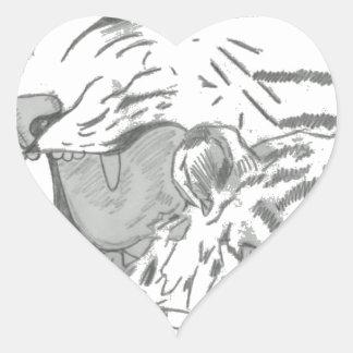 White Tigers Pencil Sketch Heart Sticker