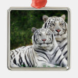 White Tigers Square Metal Christmas Ornament