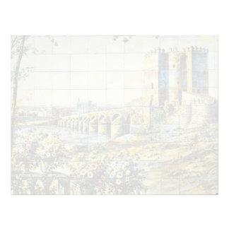 white Tile showing Cordoba scene, Plaza Santa Ana, Custom Letterhead