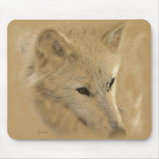 White Timber Wolf Chalk Drawing Mouse Pad
