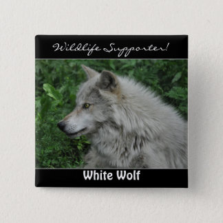 White Timber Wolf Wildlife ID pin