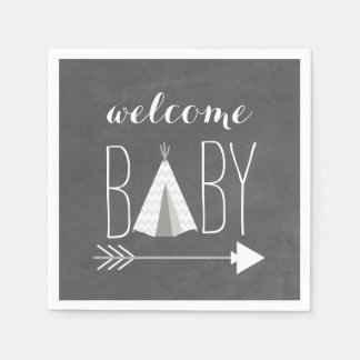 White Tipi Baby Shower Paper Napkin