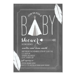 White Tipi + Feathers Baby Shower Card