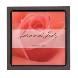White Tipped Pink Rose Personal Wedding Premium Jewelry Boxes