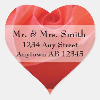 White Tipped Pink Rose Wedding Address Label