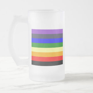 White To Black Rainbow of Color Spaces Frosted Glass Beer Mug