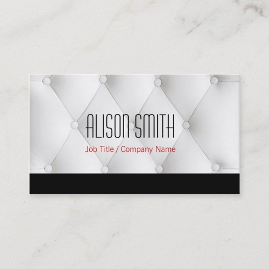 White To Leather Upholstery Business Card Zazzle
