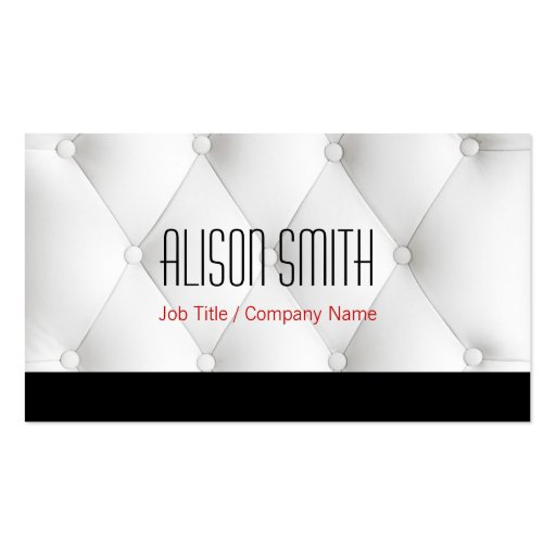 White to leather upholstery business card template