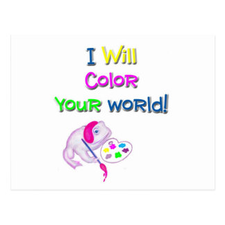 """White Toad """"I Will Color Your World"""" Products Postcard"""