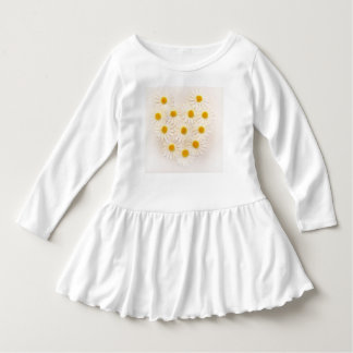 WHITE TODDLER DRESS WITH A HEART DAISY DESIGN