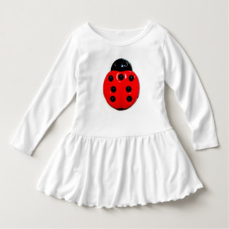WHITE TODDLER DRESS WITH A LADY BUG DESIGN