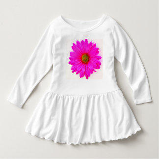 WHITE TODDLER DRESS WITH A PURPLE DASIY DESIGN