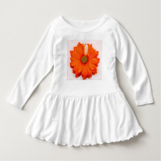 WHITE TODDLER RUFFLED DRESS WITH A AN ORANGE DAISY