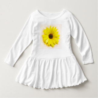WHITE TODDLER RUFFLED DRESS WITH A YELLOW DASIY