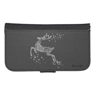 White Tones Floral Flying Reindeer Phone Wallet