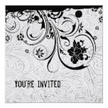 White Tooled Leather and Black Lace Invitation