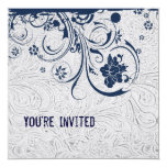 White Tooled Leather and Blue Lace Invitation