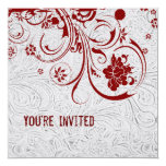 White Tooled Leather and Red Lace Invitation