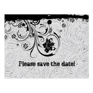 White Tooled Leather Save the Date Postcard
