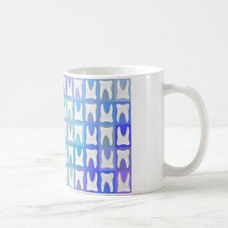 White Tooth Blue Square Pattern Dentist Mug