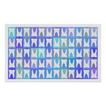 White Tooth Blue Square Pattern Dentist Poster