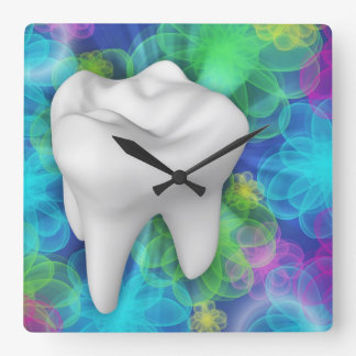 White Tooth Flower Design Dentist Wall Clock