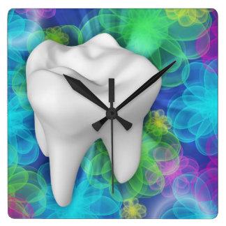 White Tooth Flower Design Dentist Wall Clock