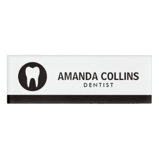 White tooth logo black dentist or dental clinic name tag