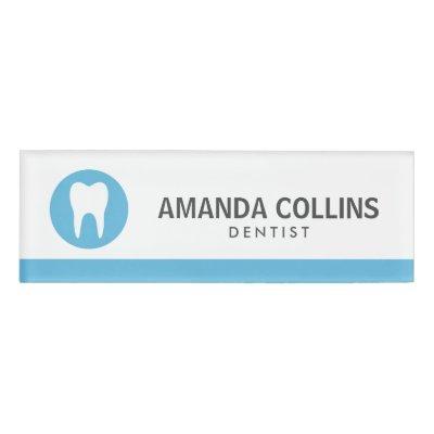 Custom color tooth logo dental assistant dentist name tag | Zazzle.com
