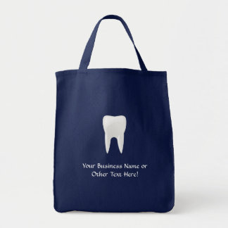 White Tooth on Blue Background Canvas Bag