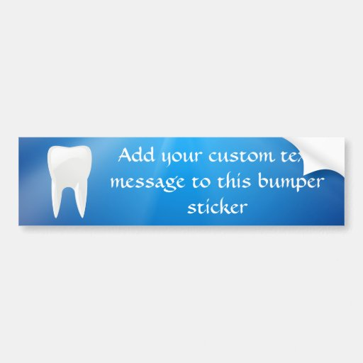 White Tooth on Blue Background Car Bumper Sticker