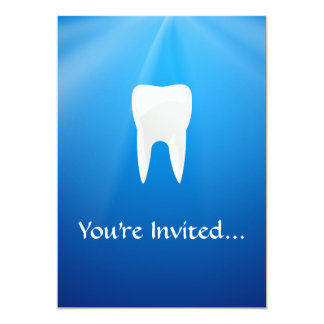 White Tooth on Blue Background 5x7 Paper Invitation Card