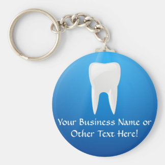 White Tooth on Blue Background Keychain