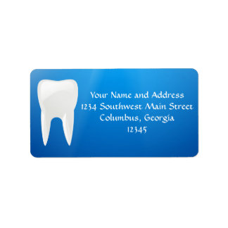 White Tooth on Blue Background Address Label