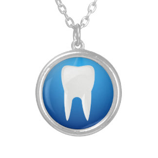 White Tooth on Blue Background Round Pendant Necklace