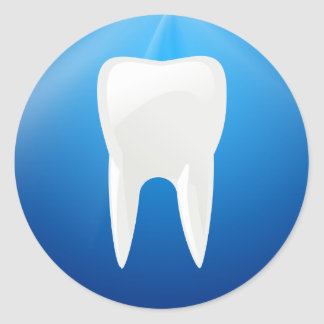 White Tooth on Blue Background Sticker