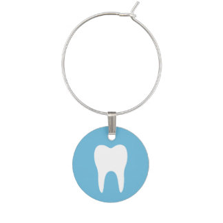 White tooth on blue dentist dental wine charm