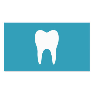White tooth teal minimalist dentist dental Double-Sided standard business cards (Pack of 100)