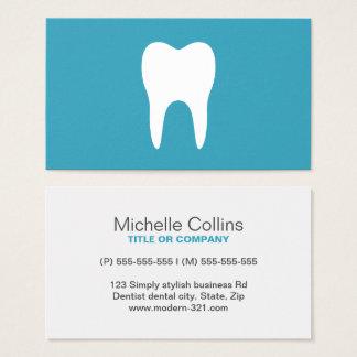 White tooth teal minimalist dentist dental business card