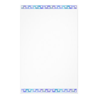 White Tooth Top & Bottom Blue Pattern Stationery